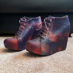 Jeffrey Campbell x Black Milk wedged galaxy bootie